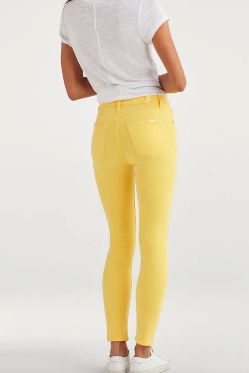 7 For all Mankind High Waist Ankle Skinny in Dandelion - Side Cropped Image