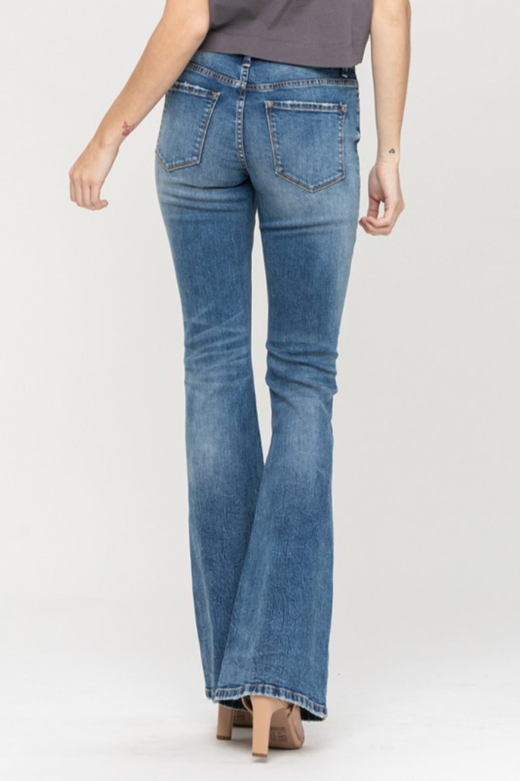 Vervet High waist Button up Flare Jeans - Side Cropped Image