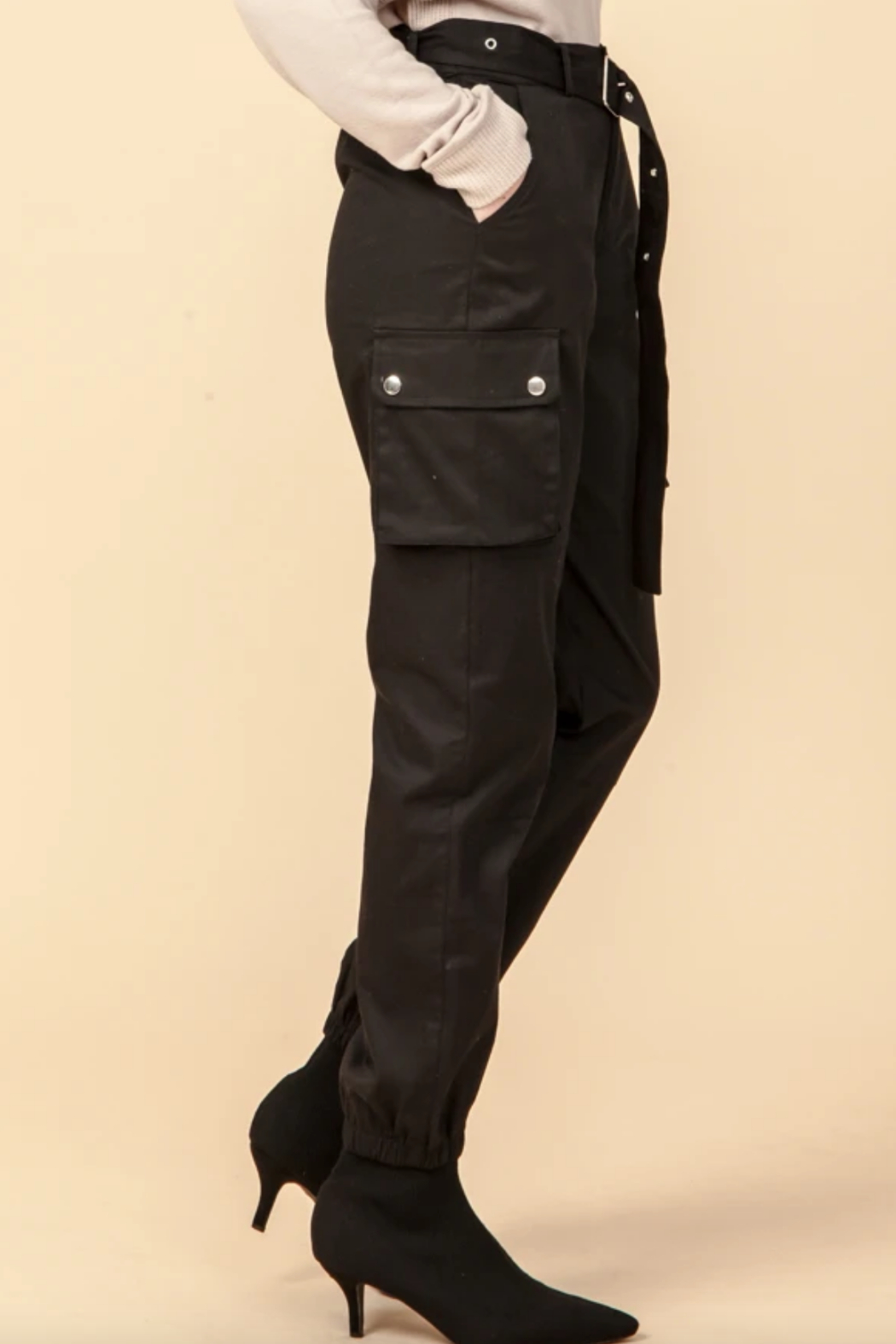 Favlux HIgh Waist Cargo Jogger Pants - Front Full Image