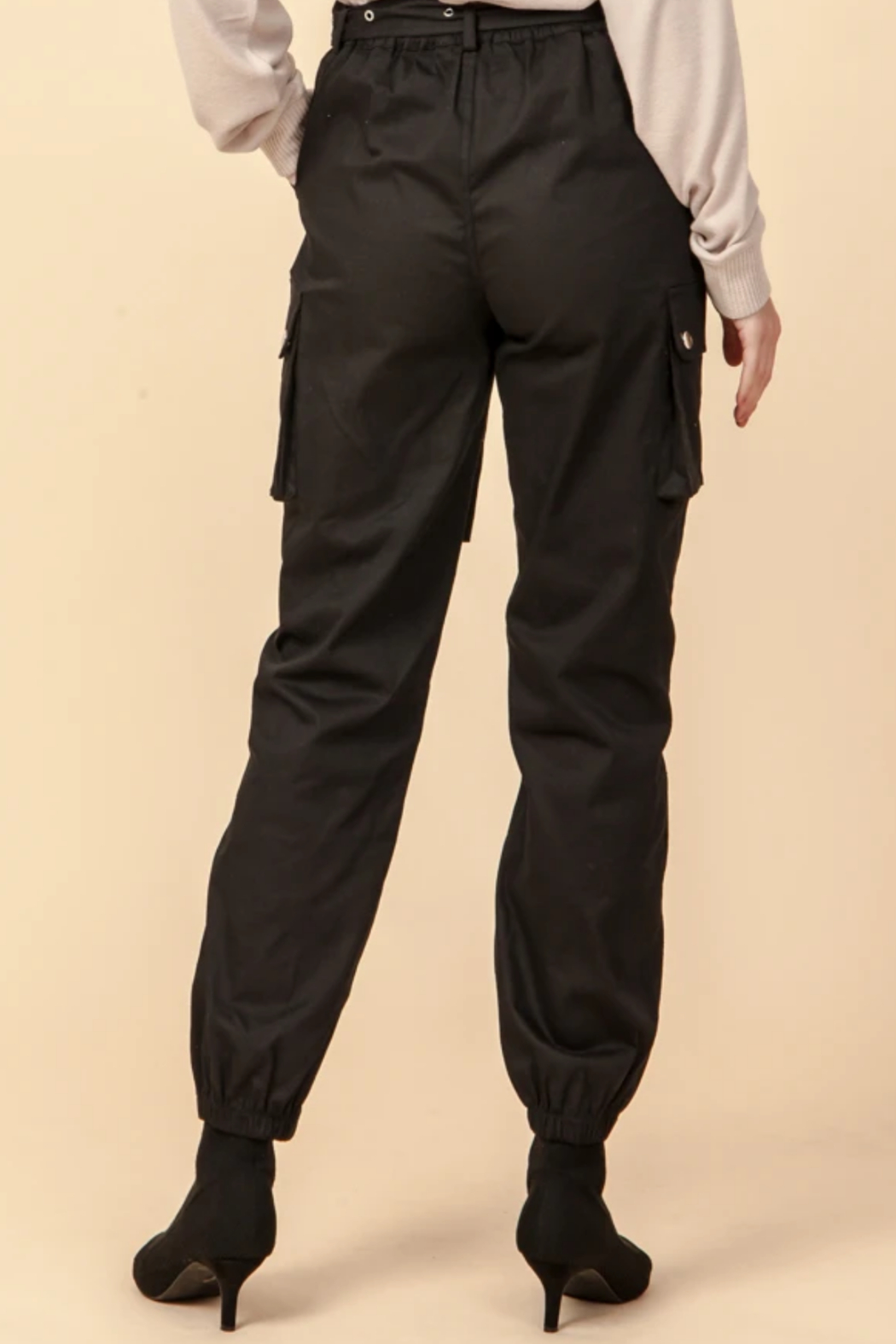 Favlux HIgh Waist Cargo Jogger Pants - Side Cropped Image