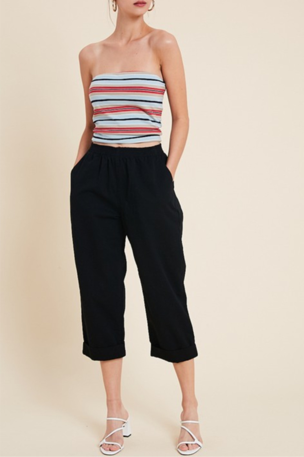 Hem & Thread High Waist Cropped Denim - Front Cropped Image