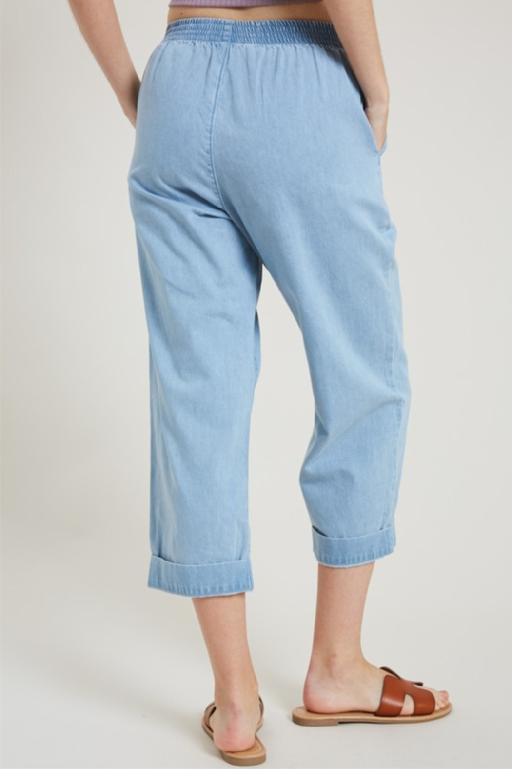 Hem & Thread High Waist Cropped Denim - Front Full Image