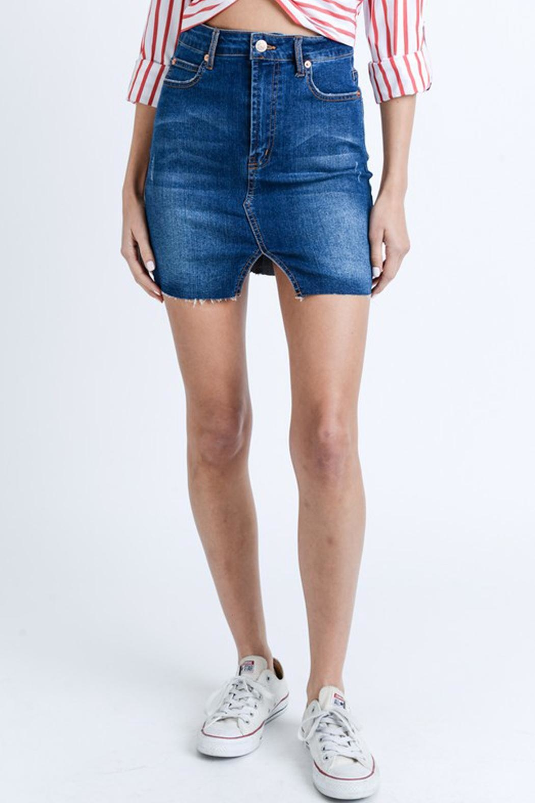 Love Tree High-Waist Denim Mini - Front Cropped Image