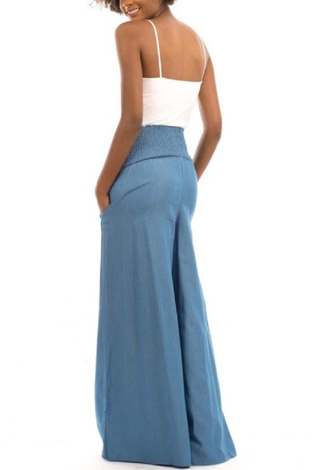 Love in  High-Waist Denim Palazzo - Side Cropped Image