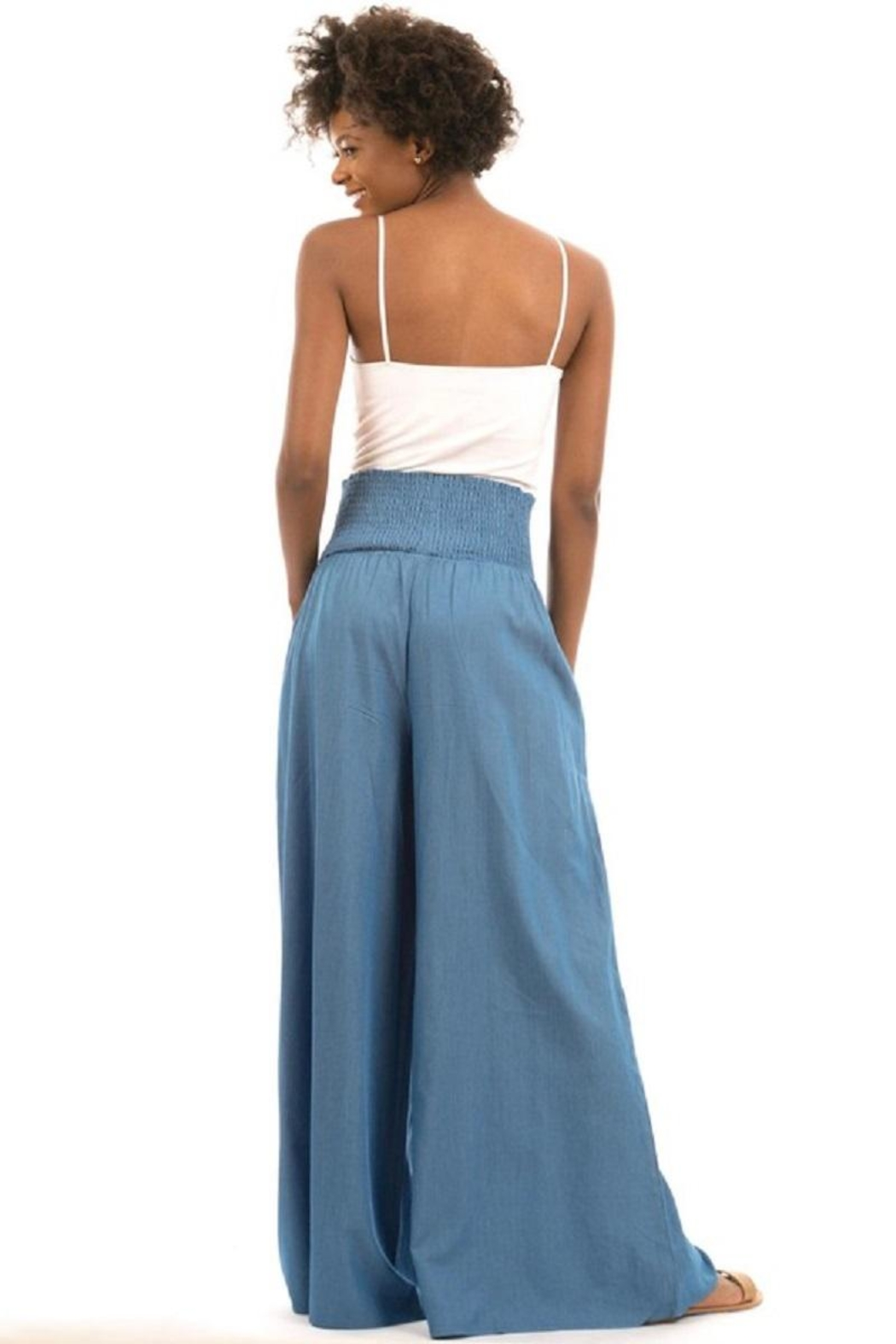 Love in  High-Waist Denim Palazzo - Back Cropped Image