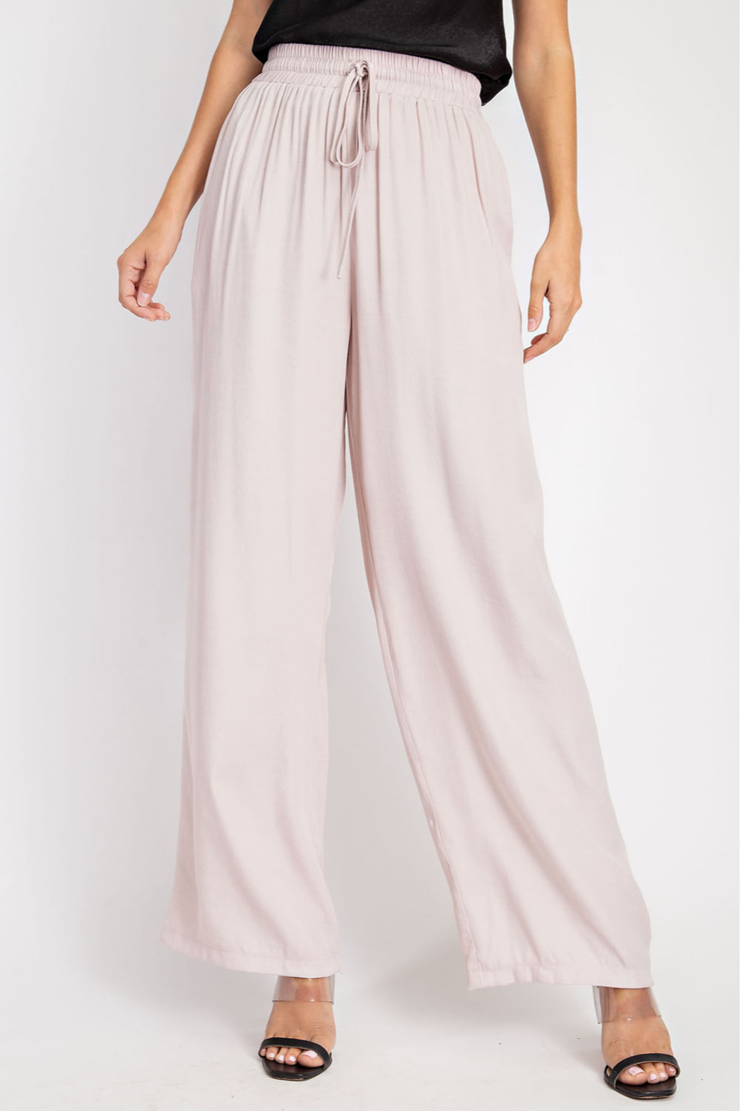Glam High Waist Flowy pants - Front Cropped Image