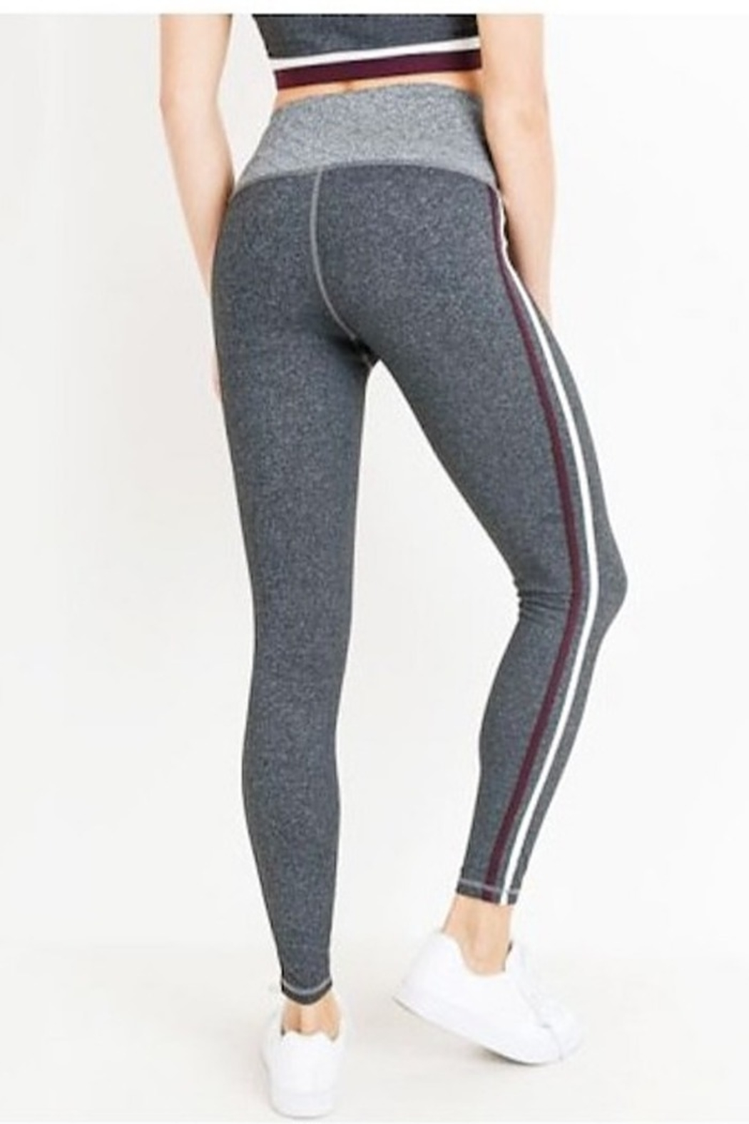 Mono B High Waist Grey Shades Stripe Full Leggings - Side Cropped Image