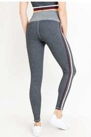 Mono B High Waist Grey Shades Stripe Full Leggings - Side cropped