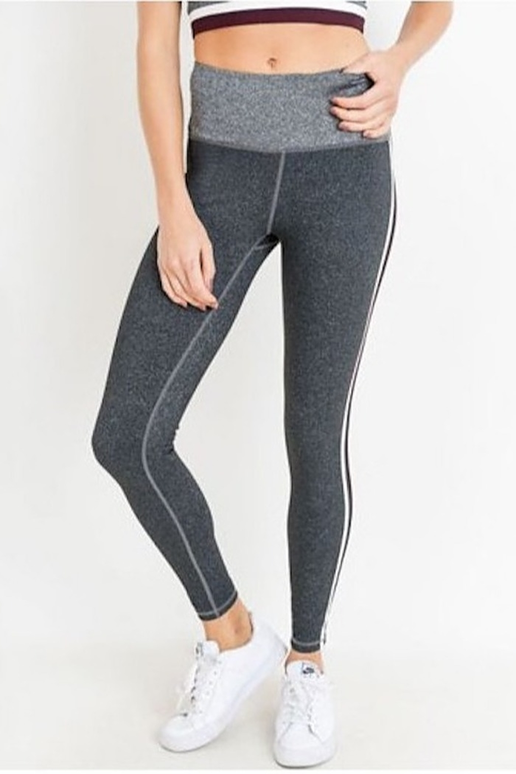 Mono B High Waist Grey Shades Stripe Full Leggings - Front Full Image
