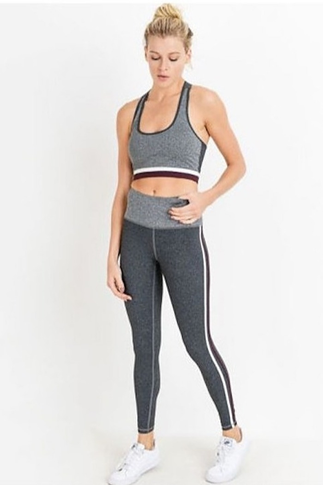 Mono B High Waist Grey Shades Stripe Full Leggings - Main Image