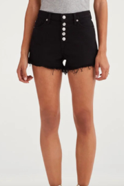 7 For all Mankind High Waist Short with Frayed Hem and Exposed Button Fly in Pitch Black - Side cropped