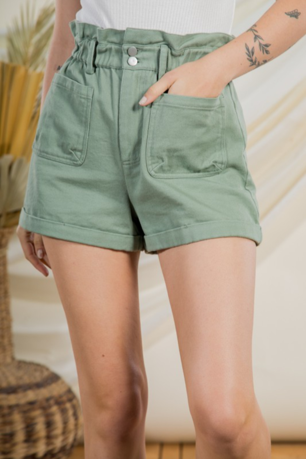 Very J  High Waist Shorts - Front Full Image