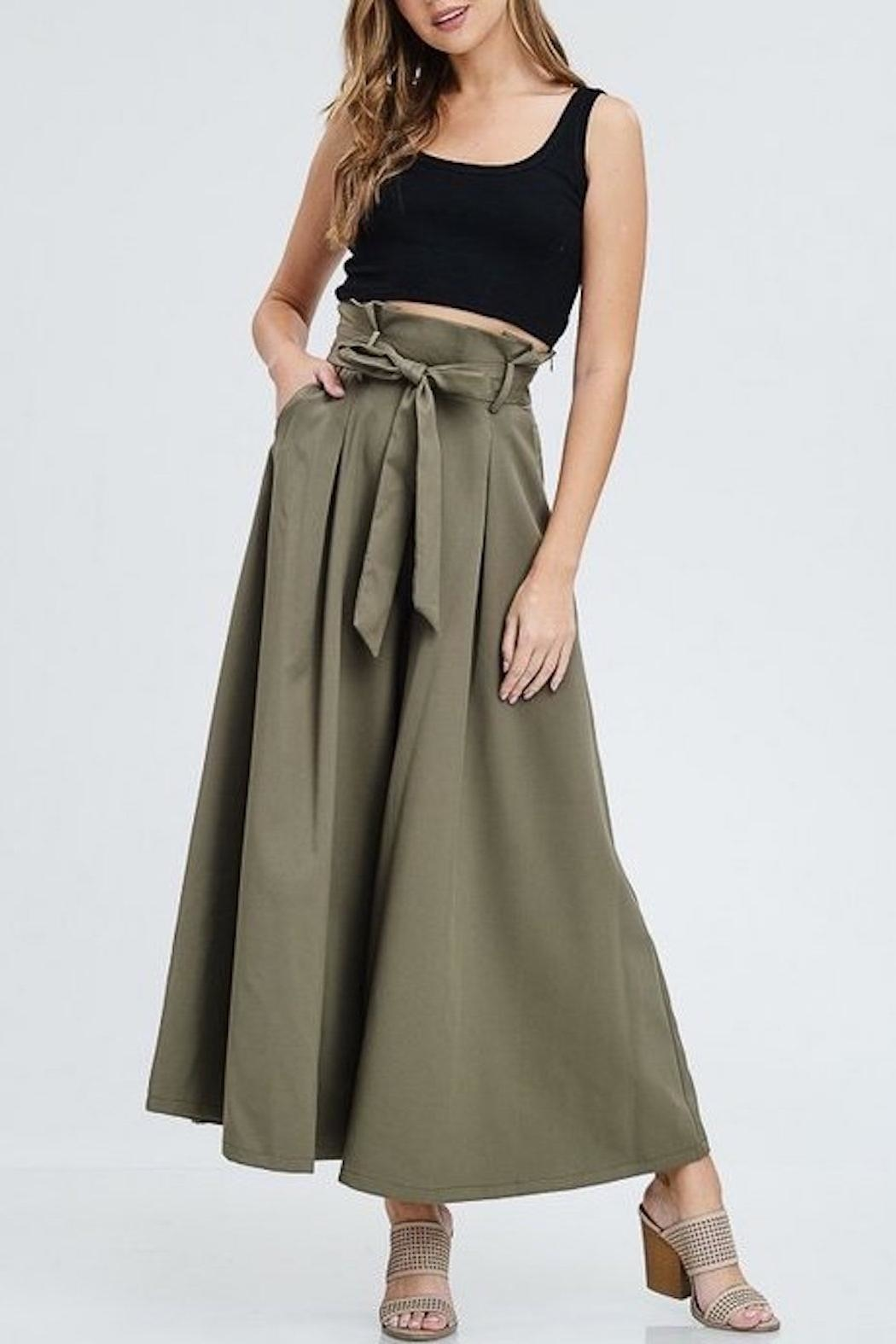 The Clothing Co High-Waist Wide-Leg Black-Dress-Pant - Front Full Image