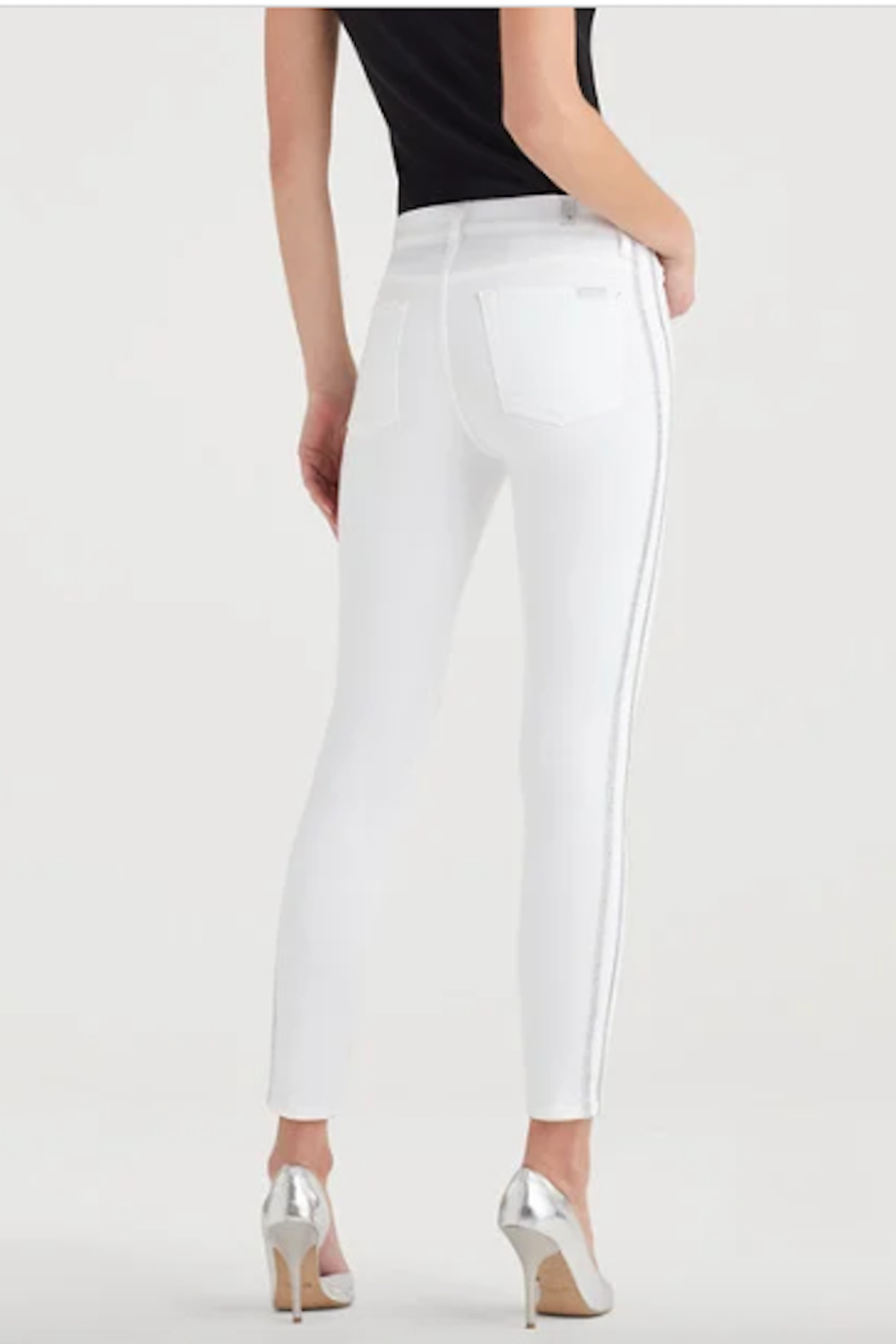 7 For all Mankind High Waist Winter White Fashion Skinny Jean - Front Full Image