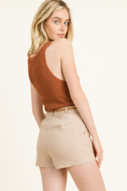 MONTREZ HIGH WAISTED BELTED CHINO SHORTS - Side cropped