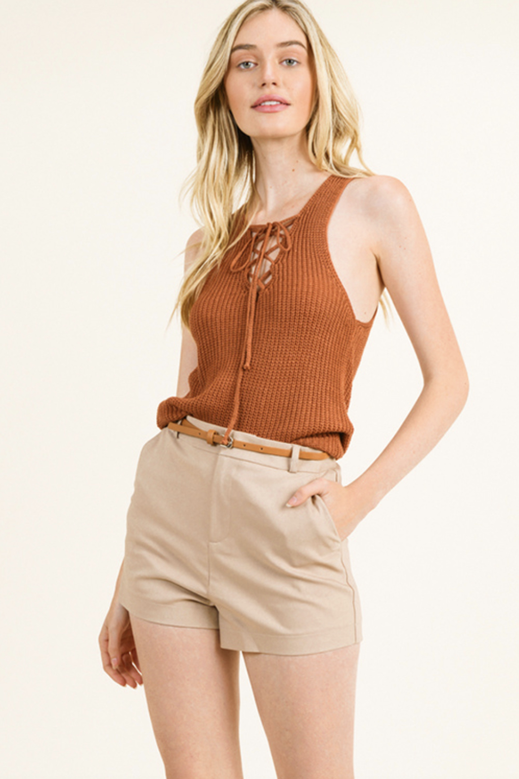 MONTREZ HIGH WAISTED BELTED CHINO SHORTS - Front Cropped Image
