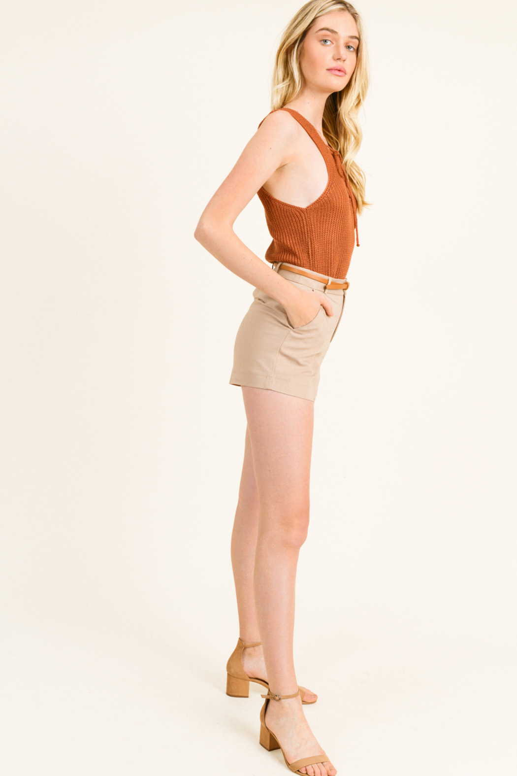 MONTREZ HIGH WAISTED BELTED CHINO SHORTS - Front Full Image
