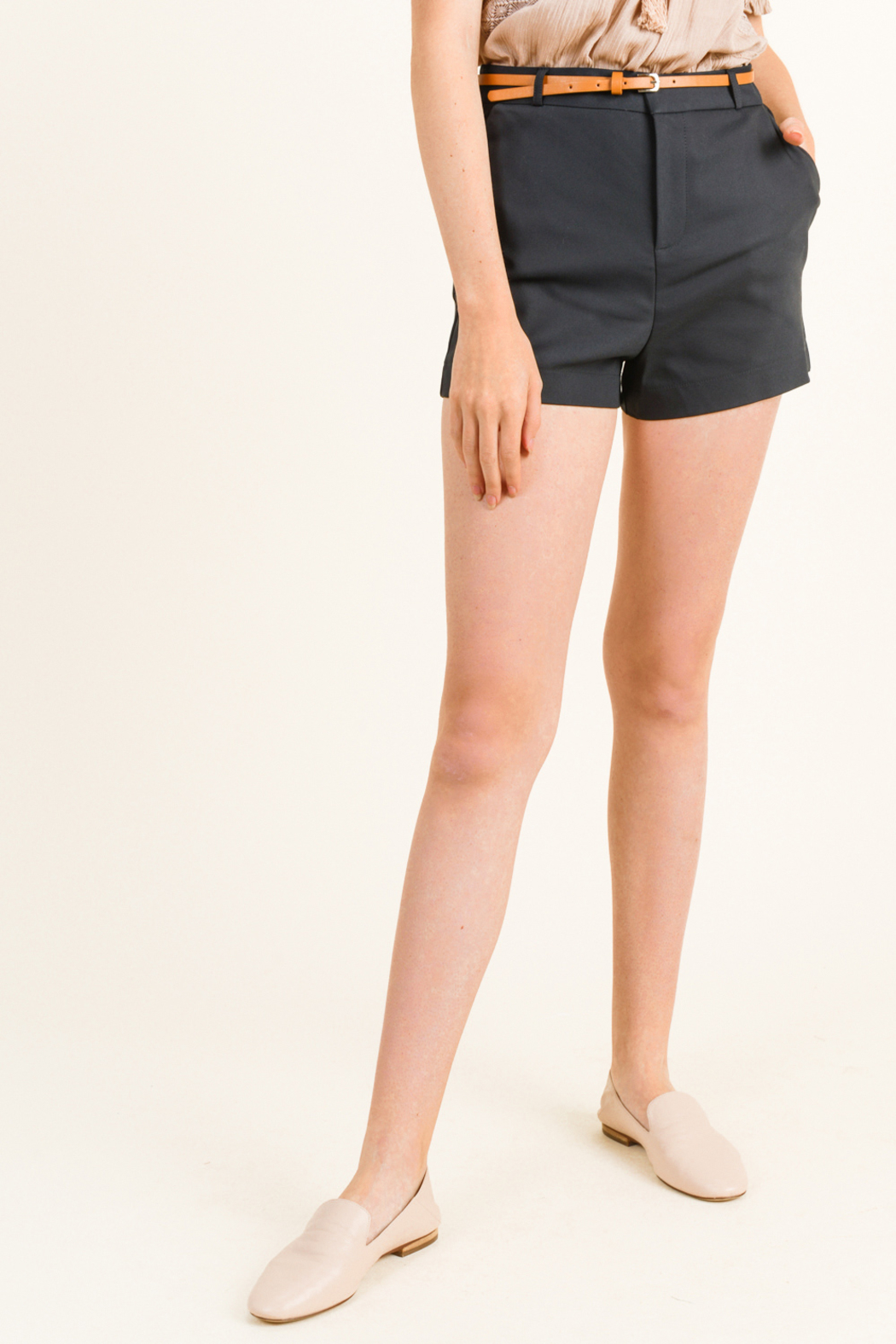 MONTREZ HIGH WAISTED BELTED CHINO SHORTS - Main Image