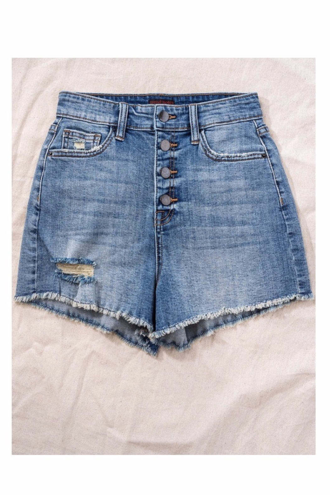 Trend Notes  High Waisted Button Denim Shorts - Front Full Image