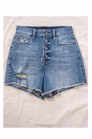 Trend Notes  High Waisted Button Denim Shorts - Front full body