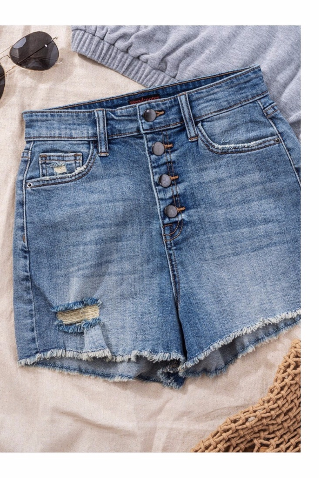 Trend Notes  High Waisted Button Denim Shorts - Main Image