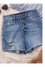 Trend Notes  High Waisted Button Denim Shorts - Front cropped