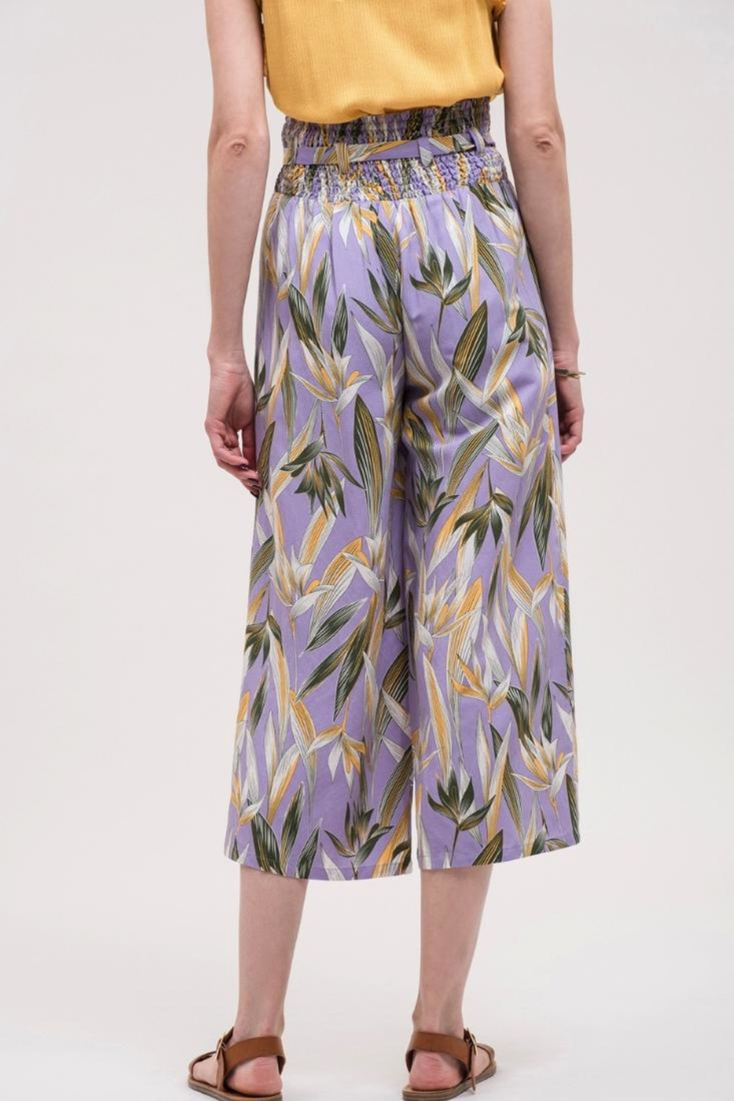 J.O.A. High-Waisted Floral Pant - Back Cropped Image