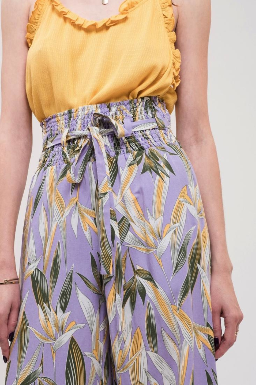 J.O.A. High-Waisted Floral Pant - Side Cropped Image