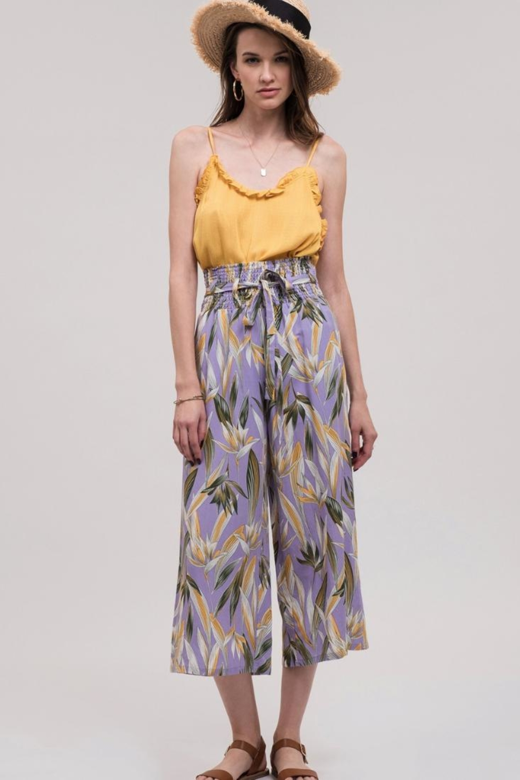 J.O.A. High-Waisted Floral Pant - Main Image