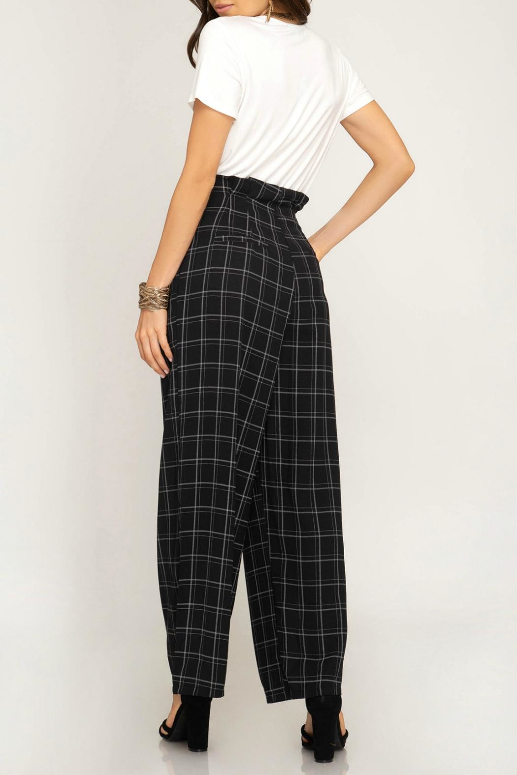 She + Sky High-Waisted Grid Pant - Front Full Image