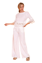 Haris Cotton  High -Waisted Linen Pants - Product Mini Image