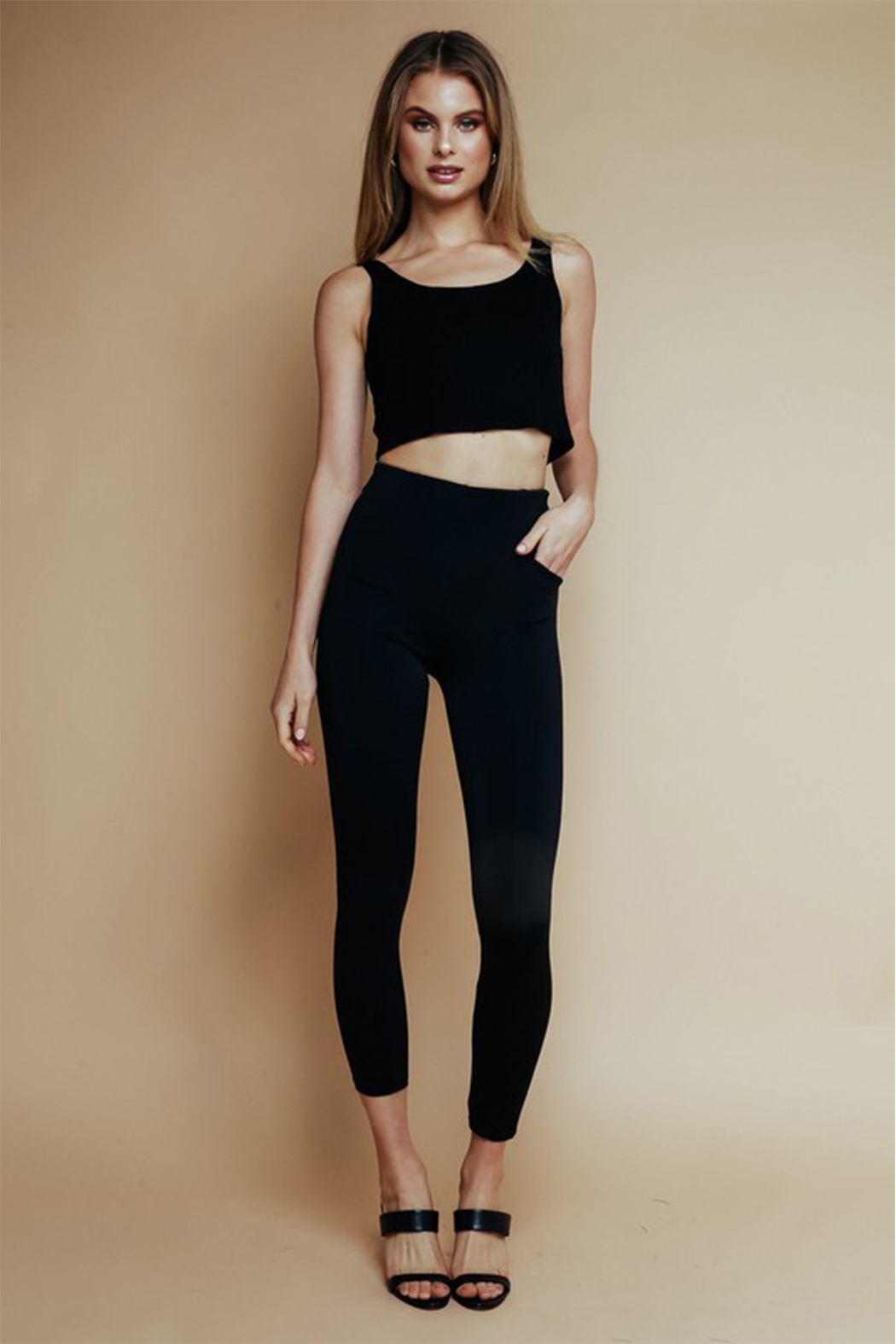 Olivaceous  High Waisted Ponte Pant - Back Cropped Image