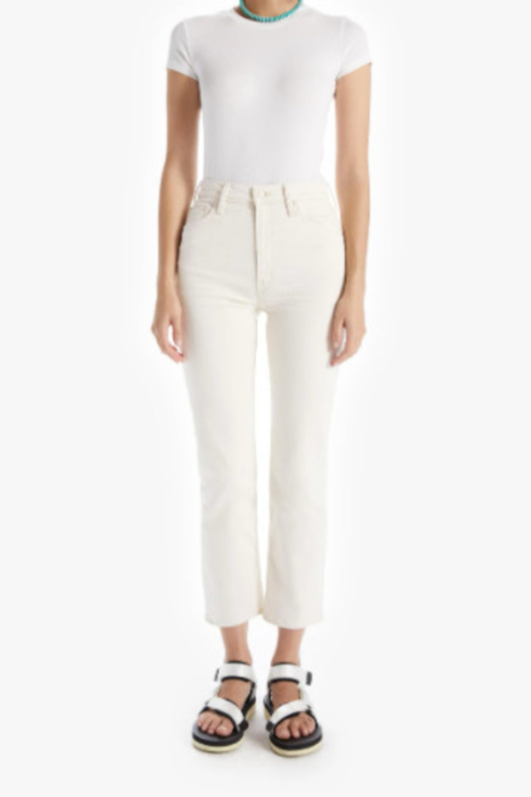 Mother High Waisted Rider Ankle - Act Natural Ivory Wash - Main Image