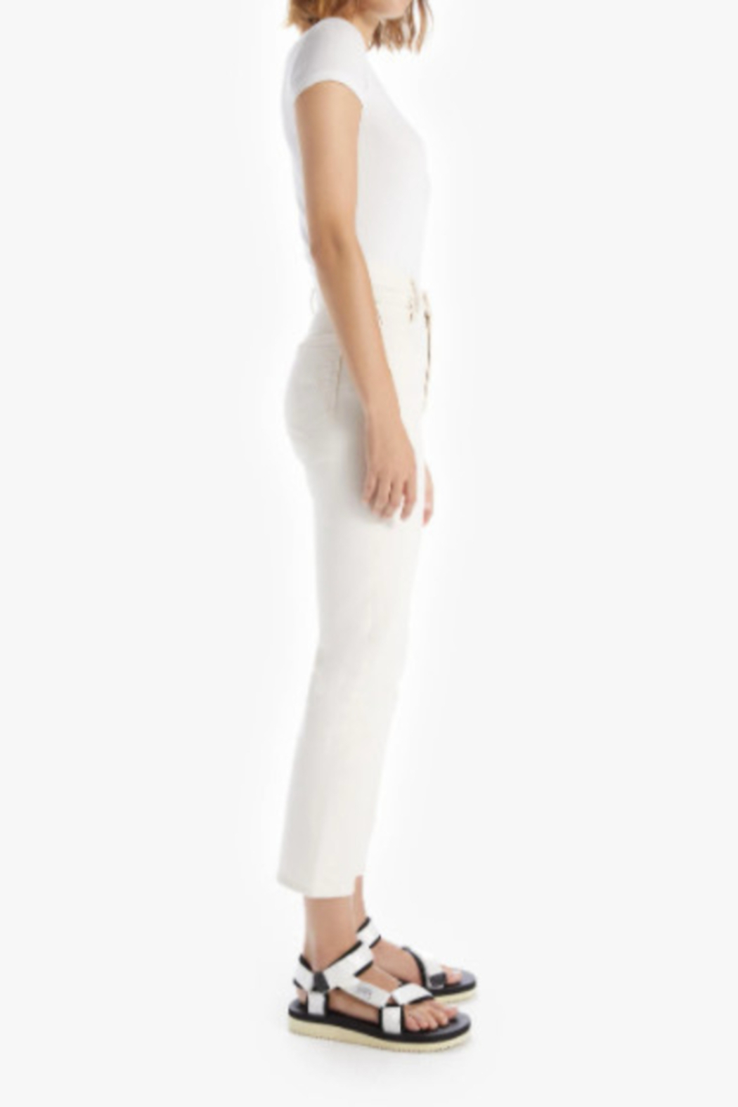 Mother High Waisted Rider Ankle - Act Natural Ivory Wash - Front Full Image