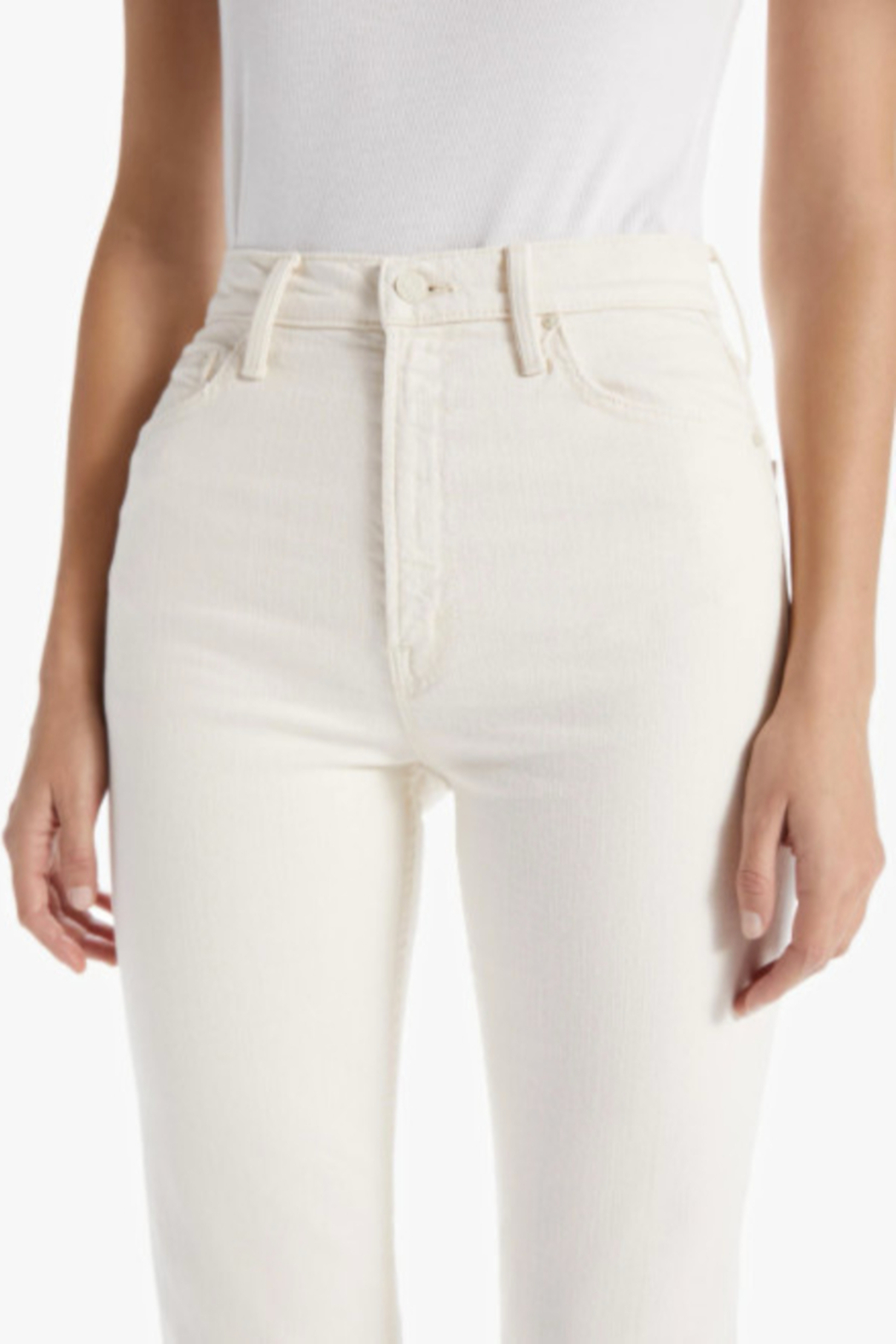 Mother High Waisted Rider Ankle - Act Natural Ivory Wash - Back Cropped Image