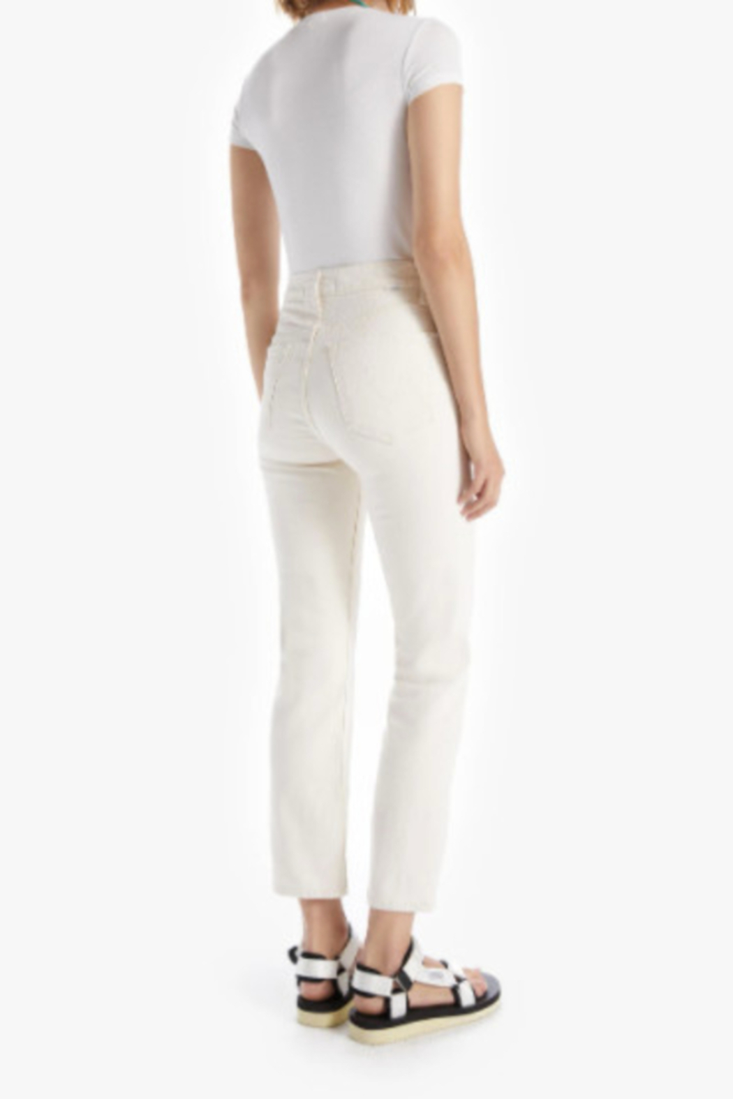 Mother High Waisted Rider Ankle - Act Natural Ivory Wash - Side Cropped Image