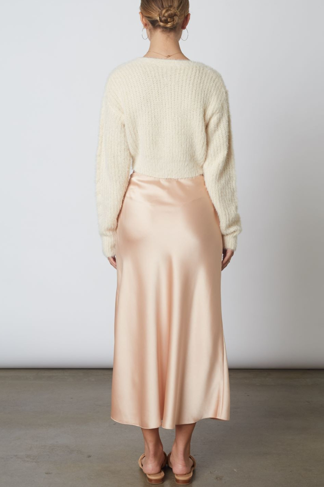 Cotton Candy  High Wasted Midi Skirt - Side Cropped Image