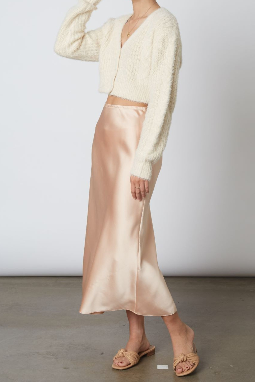 Cotton Candy  High Wasted Midi Skirt - Front Full Image