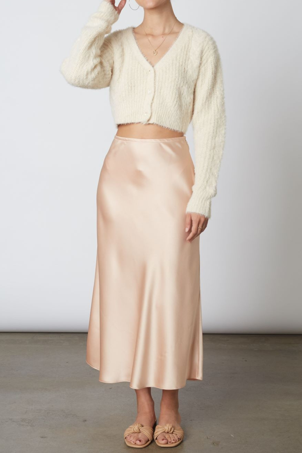 Cotton Candy  High Wasted Midi Skirt - Main Image