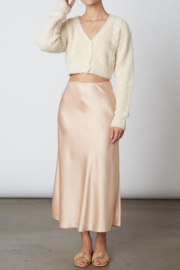 Cotton Candy  High Wasted Midi Skirt - Front cropped
