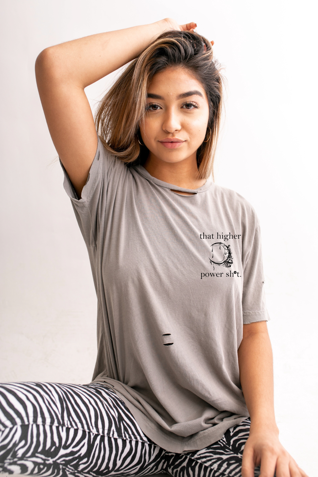 not another label Higher Power Distressed Tee - Main Image