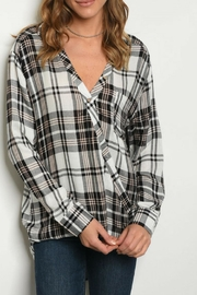 LoveRiche Highlow Plaid Blouse - Product Mini Image