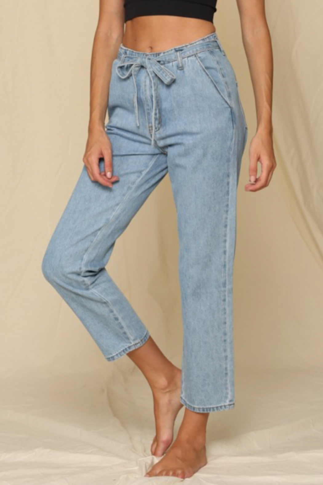 By Together  Highwaist Tie Mom Jeans - Main Image