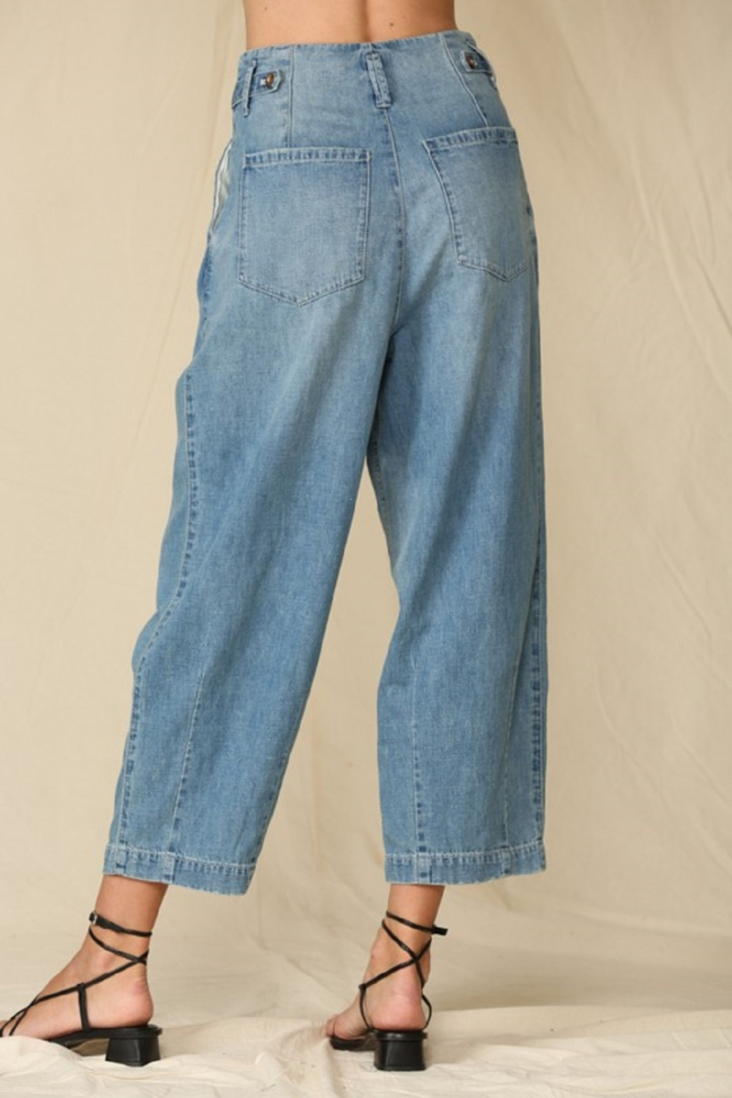 By Together  Highwaisted Woven Denim - Back Cropped Image