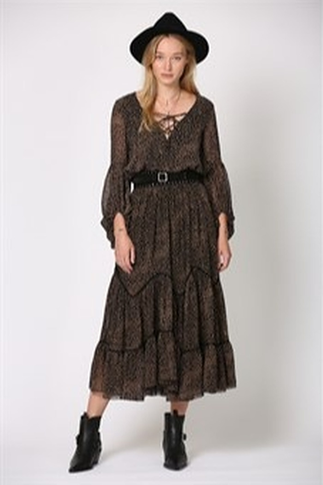 By Together Highwaisted Spotted Maxi Skirt - Front Full Image