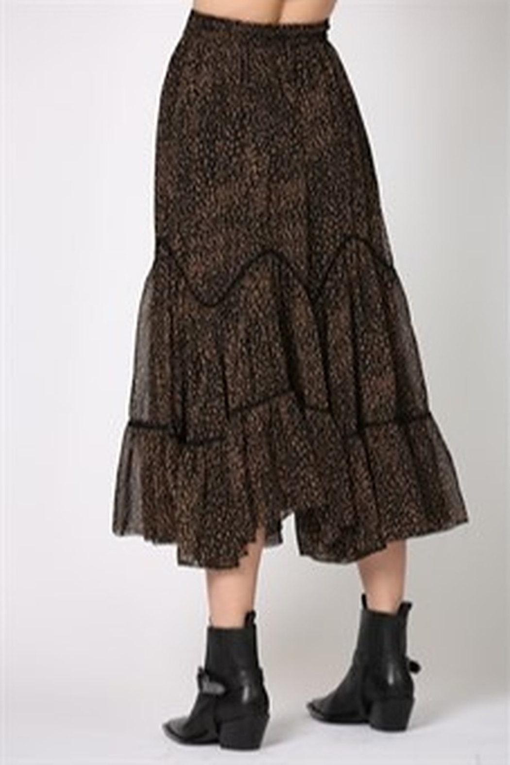 By Together Highwasted Spotted Maxi Skirt - Back Cropped Image