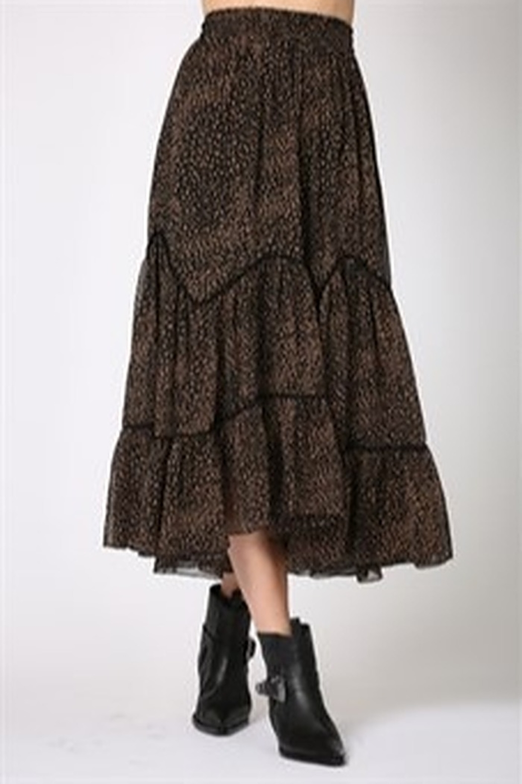By Together Highwasted Spotted Maxi Skirt - Side Cropped Image
