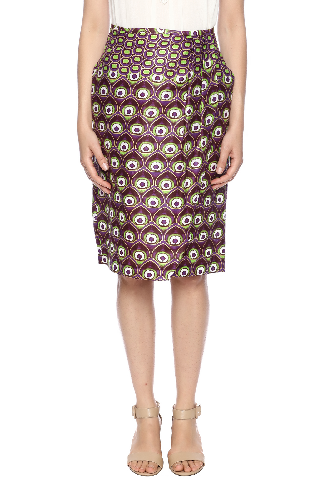 Hilary MacMillan Peacock Fold-Over Skirt - Side Cropped Image