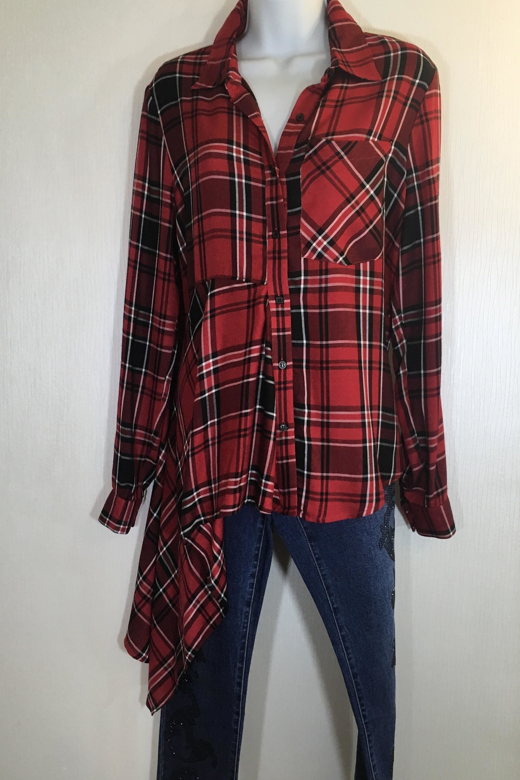 Hilary Radley Plaid Tunic Shirt - Front Cropped Image