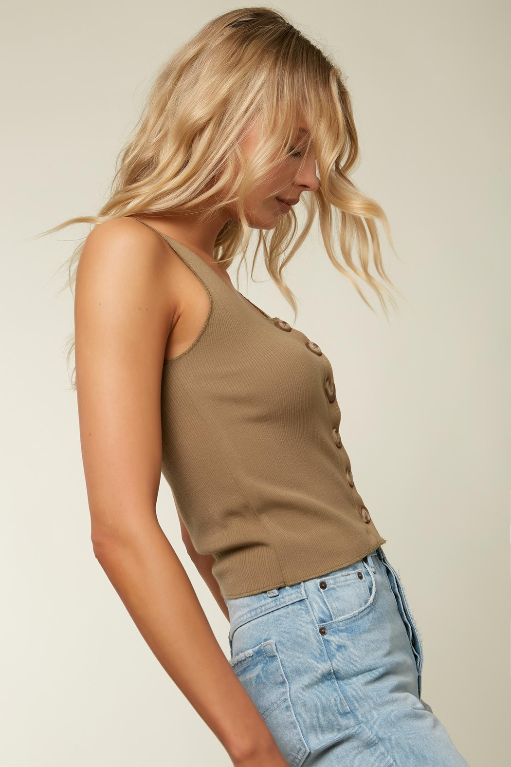 O'Neill Hill Button Ribbed Tank - Side Cropped Image
